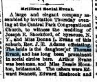Wedding Announcement Joseph E Shackford Brilliant Social Event, Oak Park Reporter, 21 October 1887 Part 1